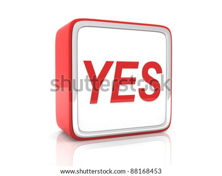 YES button - 3d render - stock photo