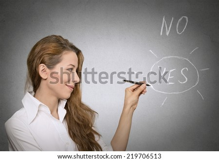 yes. decision making concept - stock photo