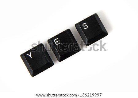 yes from black keyboard isolated on the white background - stock photo