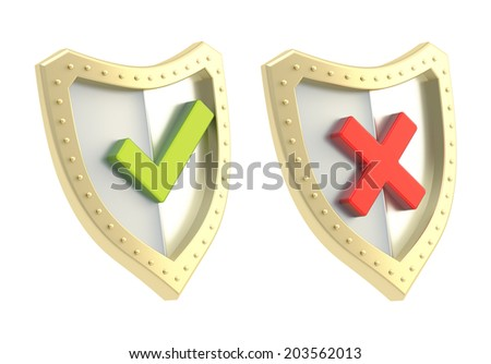 Yes green tick and no red cross mark signs over the shield surface isolated on white background - stock photo