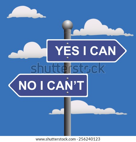Yes, I, can, two-way, street, sign, clip art - stock photo