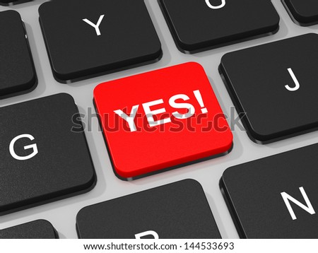 YES key on keyboard of laptop computer. 3D illustration. - stock photo