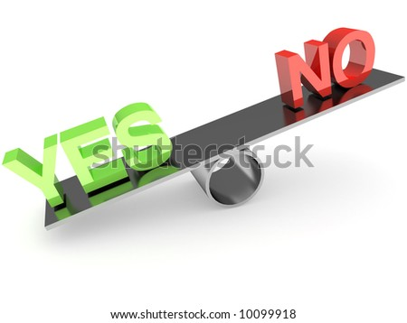Yes - No balance - stock photo
