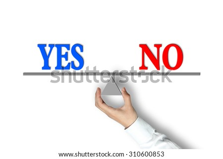 Yes No Balance concept with scale holden by businessman hand isolated on white background. - stock photo