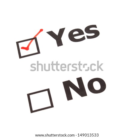 Yes No  check boxes,check Yes - stock photo