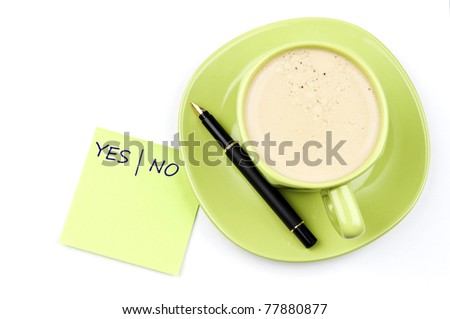 Yes|No on note and coffee - stock photo