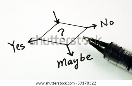 Yes, No, or Maybe concepts of making business decision - stock photo