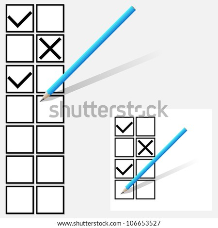 Yes no  tick boxes. - stock photo