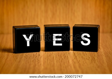 Yes, ok, agree text on black block - stock photo