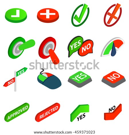 Yes or No icons set in isometric 3d style isolated  illustration - stock photo