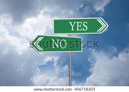 yes or no road signs on clouds and blue sky - stock photo