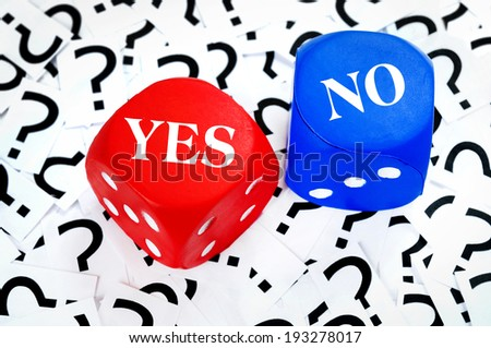 Yes or No word on question mark background - stock photo