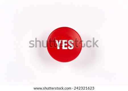 Yes - Red Button - stock photo