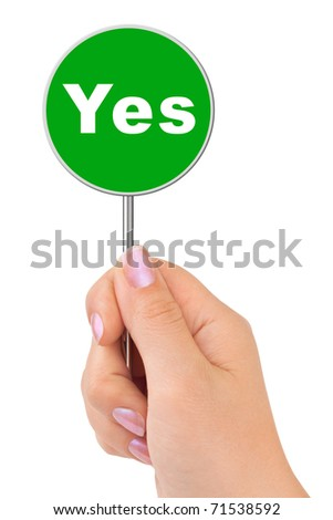 Yes sign in hand isolated on white background - stock photo