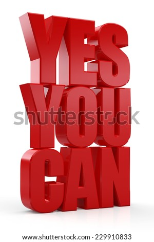 Yes you can red text on white background - stock photo