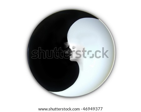 Yin and Yang Kiss - stock photo