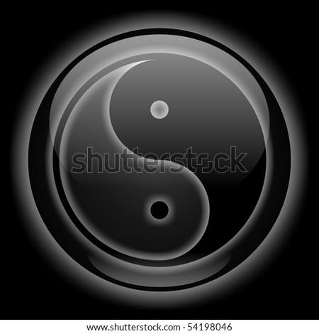 Yin-Yang Black Style Icon - stock photo