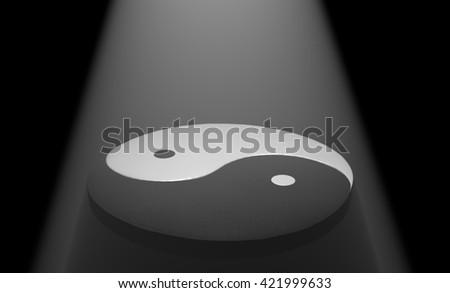 Yin Yang 3d illustration in fog light - stock photo