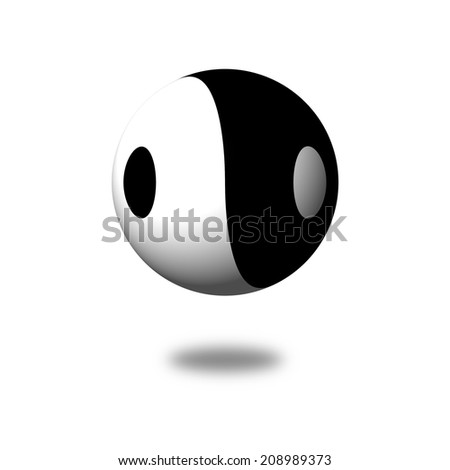 Yin Yang Day Night opposite or contrary forces - stock photo