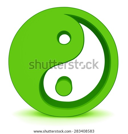 yin yang elements isolated on white - stock photo