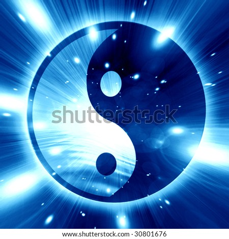 Yin Yang sign on a blue background - stock photo