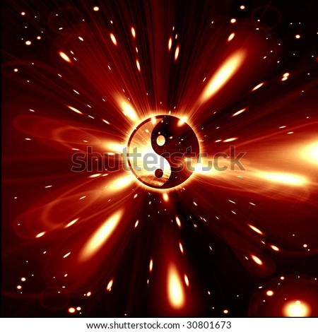 Yin Yang sign on a red background - stock photo