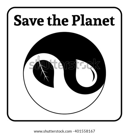 Yin Yang symbol. Concept Save the Planet. Natural themed yin-yang emblem. Eco elements. Organic Bio. Icon of harmony signs representing balance with nature or environmental conservation.  - stock photo