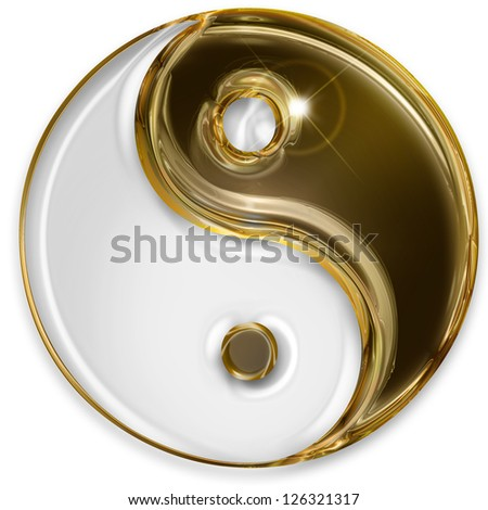 yin yang symbol isolated on white background - stock photo