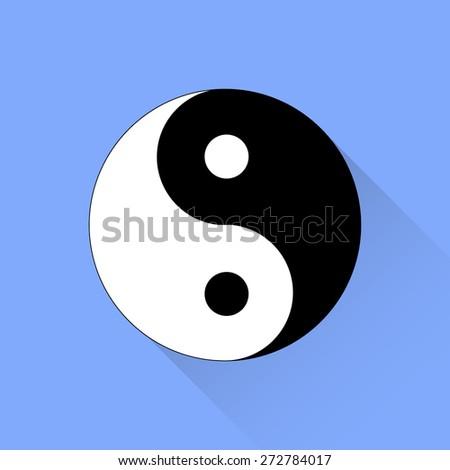 Yin Yang Symbol of  of Harmony and Balance Isolated on Blue Background.  - stock photo