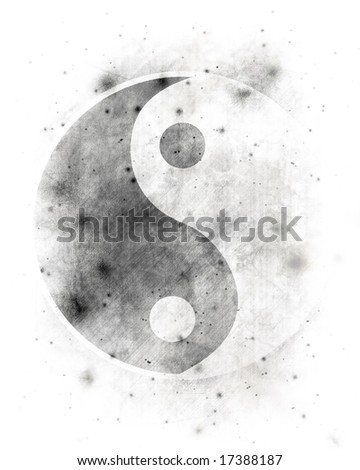 Yin yang symbol on a spotted white background - stock photo