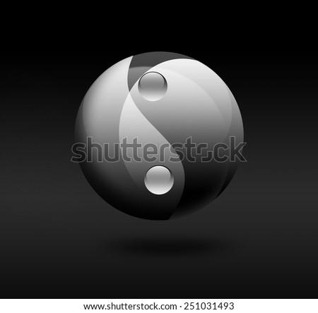 yin yang symbol on dark background - stock photo