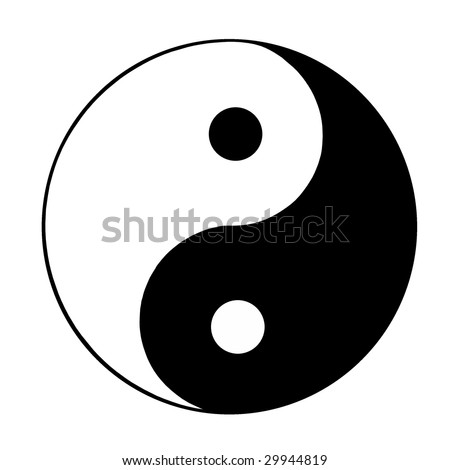 ying and yang sign - stock photo