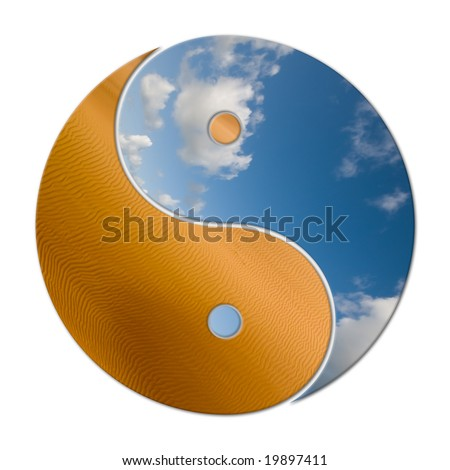 Ying Yang, 2 elements (earth & air) in balance - stock photo