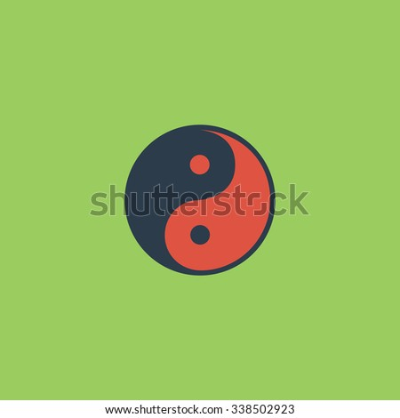 Ying-yang icon of harmony and balance. Colored simple icon. Flat retro color modern illustration symbol - stock photo