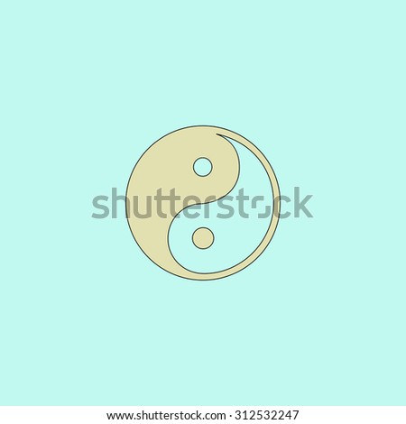 Ying-yang icon of harmony and balance. Flat simple line icon. Retro color modern illustration pictogram. Collection concept symbol for infographic project and logo - stock photo