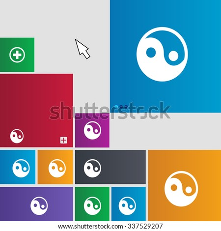 Ying yang icon sign. Metro style buttons. Modern interface website buttons with cursor pointer. illustration - stock photo