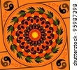 Ying Yang orange sacred circle mandala - stock photo