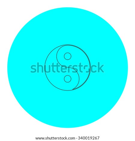 Ying yang symbol of harmony and balance. Black outline flat symbol on blue circle. Simple illustration pictograh on white background - stock photo