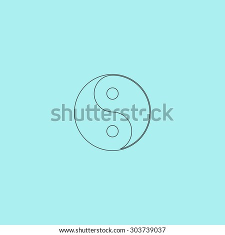 Ying yang symbol of harmony and balance. Flat web icon or sign isolated on  background. Collection modern trend concept design style  illustration pictogram - stock photo