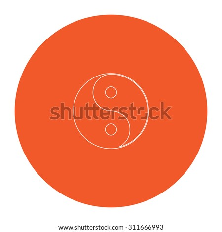 Ying yang symbol of harmony and balance. Flat white symbol in the orange circle. Outline illustration icon - stock photo