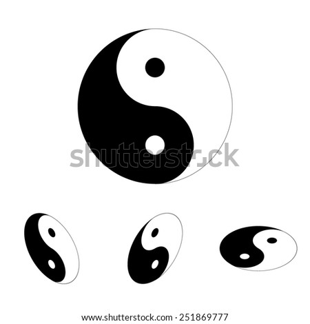 Ying yang symbol of harmony and balance icon  set. Isometric effect - stock photo