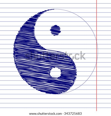 Ying yang symbol of harmony and balance with pen and school paper effect  - stock photo