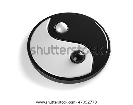 Ying Yang symbol over white. 3d render illustration - stock photo