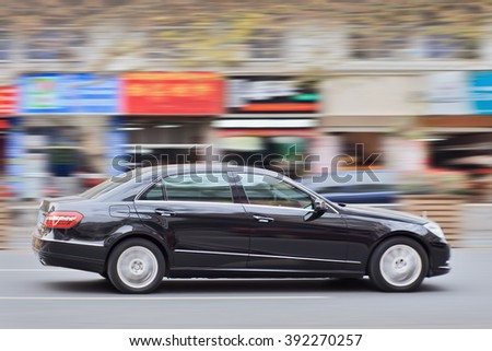 YIWU-CHINA-JAN. 15, 2016. Mercedes E Class. Luxury-car makers can count on China's growing wealth.  Number of Chinese with over $1 million in financial assets double the North America rate this year. - stock photo
