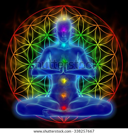 Yoga and meditation - flower of life - stock photo