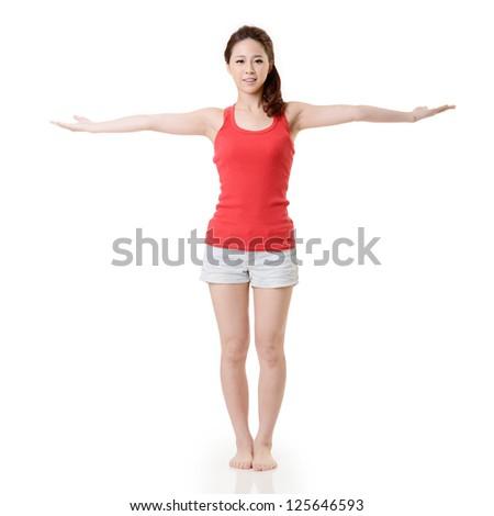 Yoga Asian sport girl, full length portrait isolated on white background. - stock photo