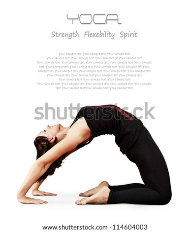 Yoga background.Girl il in bridge yoga pose - stock photo
