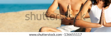 Yoga Hands. High-res Panorama. - stock photo