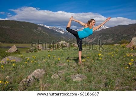 Yoga in the mountains of Colorado - stock photo