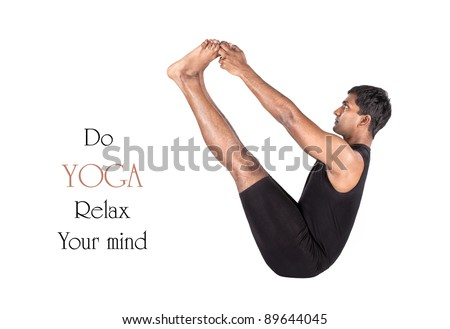 Yoga naukasana boat pose by Indian man in black cloth isolated at white background. Free space for text and can be used as template for web-site - stock photo